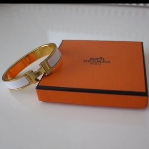 Jewelry - Authentic Hermès gold and white clic clac bracelet